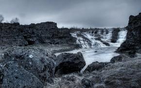 водопад, пейзаж, вода, скалы