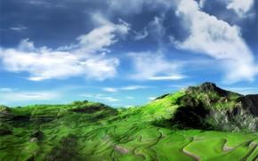 небо, горы, зелень