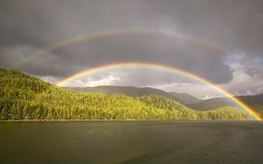 stagno, foresta, arcobaleno, nuvole