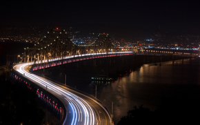night, road, Bridge, river