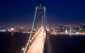 ponte, fiume, notte, semaforo
