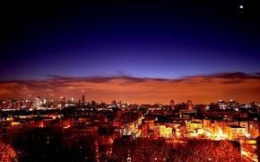 puesta del sol, Ciudad, cielo