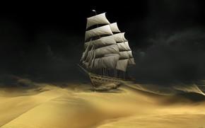 корабль, песок, пустыня