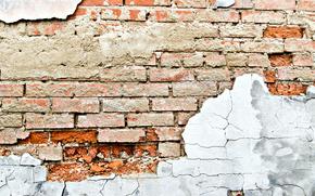 brick, wall, debris