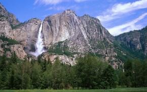 горы, трава, небо, водопад, природа