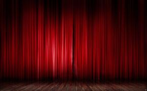 красный, шторы, сцена, текстуры