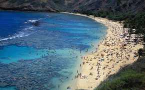 spiaggia, costa, persone, riposo