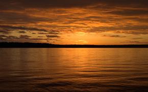 вечер, закат, море, вода