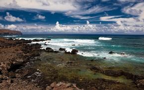 Sea, wave, coast, clouds, sky, summer