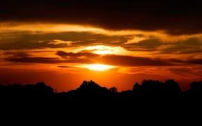 puesta del sol, cielo, Siluetas