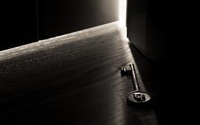 macro photo, key, door, light, room, darkness