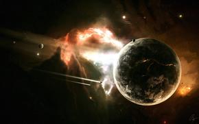 космос, планета, ракеты, взрыв, разлом