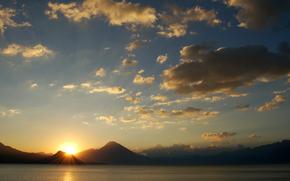 paesaggio, Montagne, cielo, tramonto, sole,, nuvole, cielo