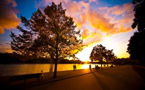 обои для рабочего стола, люди, парк, прогулка, велосипед, река, лето, вечер, деревья, солнце, небо, хорошая погода