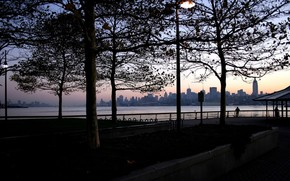 город, люди, вечер, романтика, пейзаж, небо