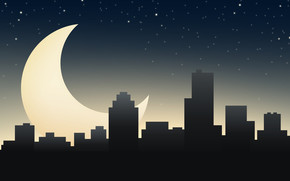 town, night, sleep, moon, home