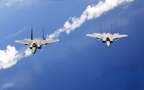 самолёты, пара, небо, патруль