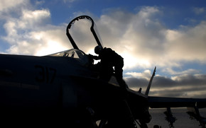fighter, cab, pilot, silhouettes