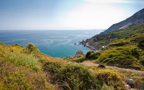 пейзаж, природа, вид на море, океан, вода, скалы, берег, растения, небо, обои на рабочий стол