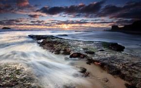 закат, море, вечер, красивые обои