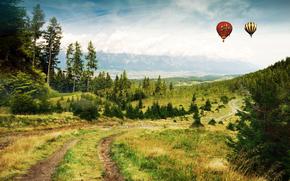 дорога, лес, горы, воздушные шары