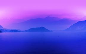 утро, озеро, туман