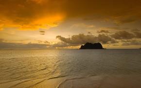 自然, 海, 岩, 日の出