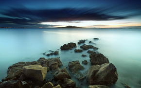 Sea, stones, coast, water, landscape