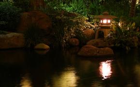 природа, пруд, лампа, светильник, вода, обои