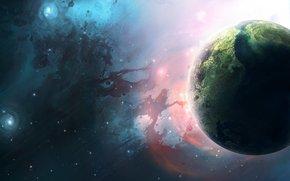 planet, Stars, Nebula