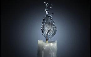 свеча, вода, пламя, водный огонь