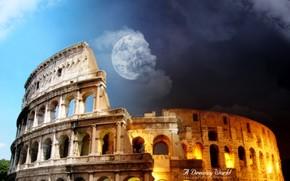 ville, Colise, fantaisie, dessin, amphithtre