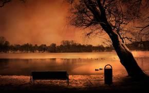 пейзаж, романтика, вечер, скамейка, лавка, небо