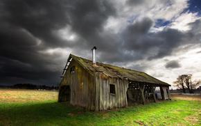 старый дом, трава, небо, крыша, обои, креатив