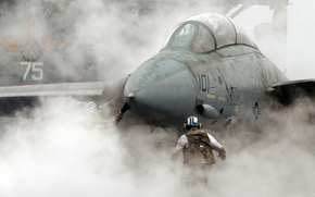 fighter, smoke, aircraft carrier