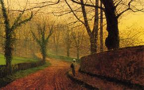 картина, алея, парк, осень, спуск, деревья, листва, девочка