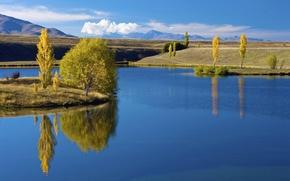 fiume, acqua, paesaggio, carta da parati, alberi, erba