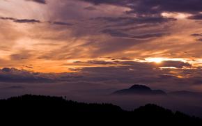 вечер, горы, пейзаж, облака, вид, природа