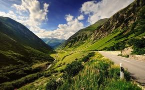 mountain road, Wallpaper, Mountains, way, column, greens, nature, sky, clouds, landscape