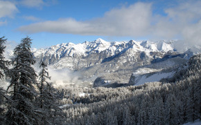 горы, снег, облака
