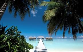 пейзаж, вид, природа, красота, бесплатные обои для рабочего стола, мальдивы, мостик, пальмы, лето, пляж, песок, берег, вода, море, океан, дома, небо