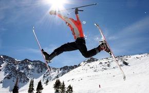 neige, sommets, skieur, vol