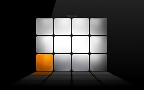cubes, orange, gray