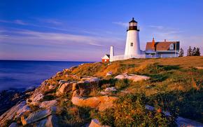 море, камни, холм, маяк