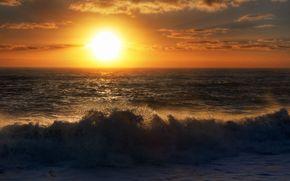 закат, море, прибой, небо