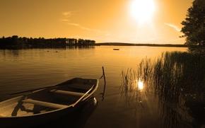закат, озеро, лодка, природа