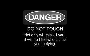 черный, фон, надпись, предупреждение
