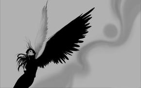девушка, крылья, черный