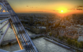 великобритания, лондон, темза, колесо обозрения, вид сверху