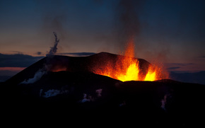 volcano, eruption, night